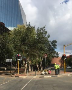 Security guards at the corner of Diagonal and Pritchard Street, Johannesburg 20202 Lockdown